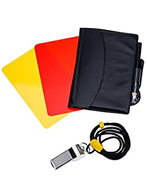 Mudder Sports Referee Card Set Red Card Yellow Card and Metal Referee Whistle Coach Whistle for Football Soccer