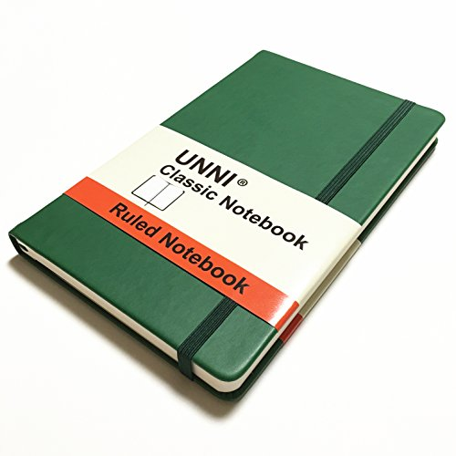 """Unni Classic Notebook Journal, Size:5"""" X 8.25"""", A5, Ruled, Green, 240 Pages, Hard Cover/Fine PU Leather, Writing Notebook, Diary Journal, Banded journal, Bookmark, Hardbound"""