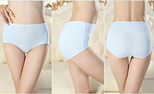 Calzoncillos de cintura de algodón para mujer (4 paquetes) ( Color : 4 , Tamaño : L ) 1