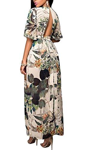 Coolred-femmes En Mousseline De Soie Imprimé Floral Fendu Cou Profond V Sexy Robe De Plage Comme Image