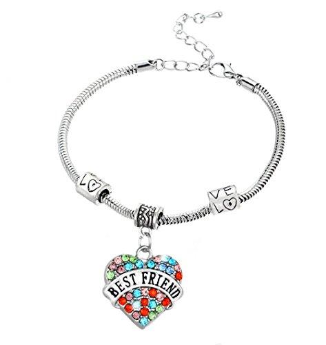 Fusicase Charm Bling Crystal Shiny Rhinestone Glitter Colorful Diamond Heart Love Carve Metal Silver Steel Chian Family Member Bracelets Gift (Best Fusicase Friends Golds)