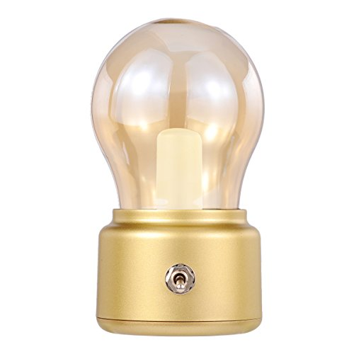 Rechargeable LED Night Light,Gold, Table/Desk Lamps, Bubl lamps for Bedrooms, Baby Sleeping, Candlelight Dinner, Camping, Dinner, Party, Emergency Lighting, Retro Style, 500mAh Battery Build-in (Gold Night Light)