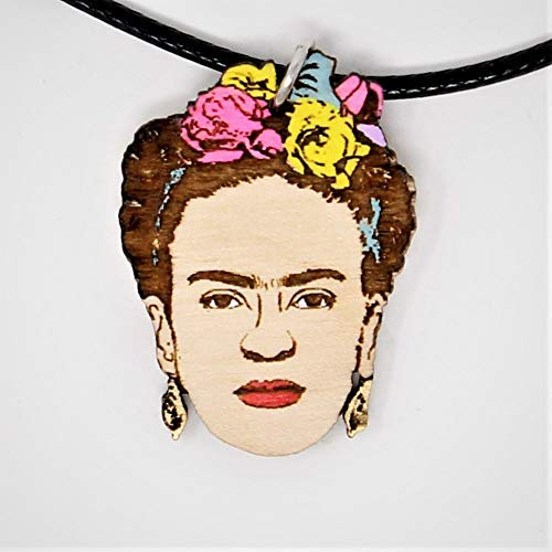 (Frida Flower Crown Choker Necklace | Boho Hand-Made Artist Natural Wood Pendant Jewelry | Valentine's Gifts for Her)