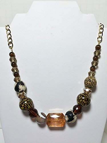 Beaded Gold Animal Print Statement Necklace Set 18 Inch