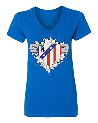 fan products of SMARTZONE Club Atletico de Madrid Super Hero Logo Soccer Football Futbol Women's V-Neck T Shirt (Royal,L)
