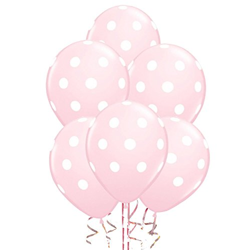 Polka Dot Balloons 11inch Premium Pink with All-Over Print White Dots Pkg/25 -