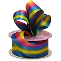 """Pride Satin Swirl Rainbow Ribbon – 1 1/2"""" x 10 Yards, Double Sided, Ribbon for Crafts, LGBTQ Support, Gay Pride, Hair…"""