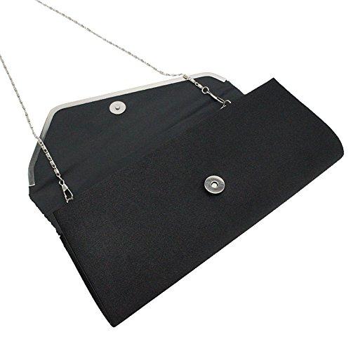 Fashion bag Women Purse Shoulder Evening Handbag Black Sequined Wedding Clutch Black Wiwsi dxCEYq0wx
