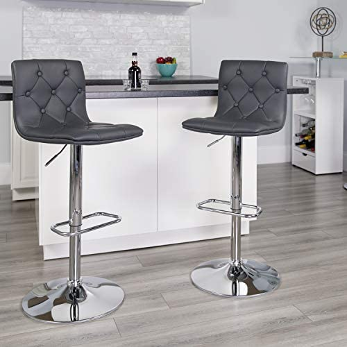 EMMA OLIVER Button Tufted Vinyl Bar Stool