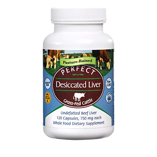 Perfect Desiccated Liver Capsules, 100% Grass Fed Undefatted Argentine Natural Beef Liver Supplements, 120 Capsules, 750mg per Capsule