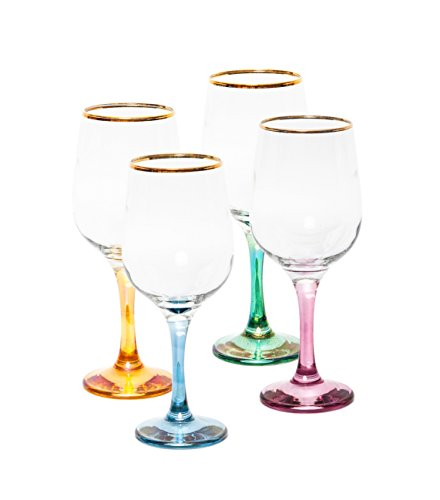 - Italian Collection Crystal 15 Oz 'Nicol' Water or Wine Goblet Multi Colored Stem Crystal Glasses, 24K Gold Rim, Vintage Luxury Pattern