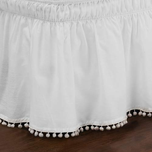 White Luxury Ruffles Pattern 18-Inch Drop Bed Skirt Queen/King Size, Beautiful Pom Pom Fringe Design Borders Ruffled Bed Valance, Features Easy-Stretch, Classic Casual Style, Solid Color, Soft Cotton