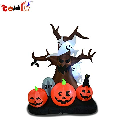 Scary Halloween Trees (COMIN.NET Halloween Inflatables Blow Up Ghost Tree with Pumpkins(8FT)