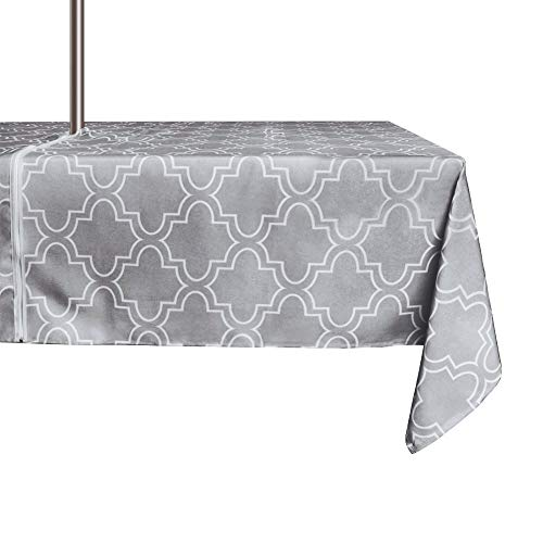 - ColorBird Elegant Moroccan Outdoor Tablecloth Waterproof Spillproof Polyester Fabric Table Cover with Zipper Umbrella Hole for Patio Garden Tabletop Decor (60 x 84 Inch, Zippered, Grey)