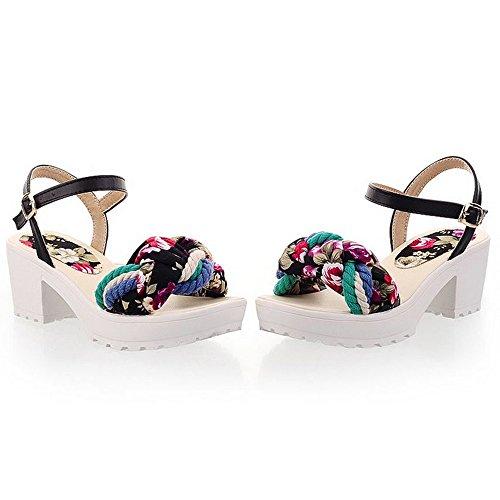 LongFengMa Women's Fashion Flatform Sandals Floral Shoes Black CBq6Aty