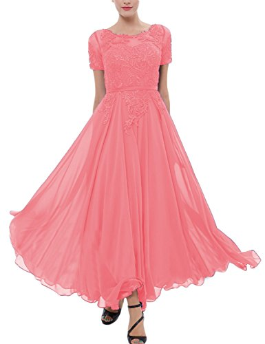 2404f7d6753 LMBRIDAL Women s Chiffon Tea Length Mother of the Bride Dress with ...