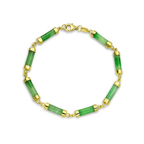 Asian Style Green Dyed Jade Bar Link Bracelet For Women 14K Gold Plated 925 Sterling Silver
