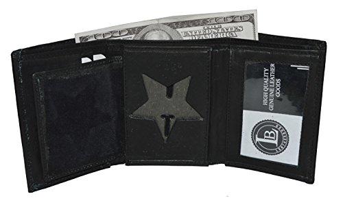Leatherboss Police Star Shape Badge Holder Trifold Wallet - Black
