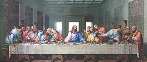 Da Vinci Famoso Cuadro Impresion de Lienzo Reproduccion La Ultima Cena de Aceite Pintura del Cartel y del Arte de la Pared Imprime Cuadro de la decoracion (Color PF 855, Size (Inch) 30X90CM)