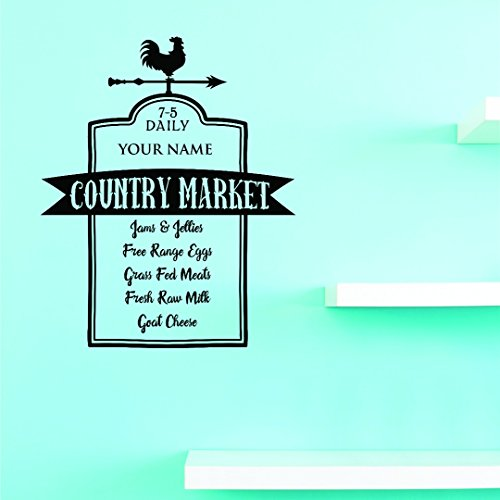 """Design with Vinyl JER 1798 3 7-5 Daily Your Name Country Market Jams & Jellies Free Range Eggs Grass Fed Meats Fresh Raw Milk Goat Cheese Wall Art Size: 20 x 40"""" Color: Black 20"""
