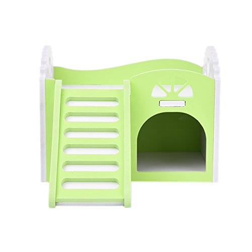 Jannyshop Small Pets Bunk Beds Wooden House with Viewing Platform Playingground Detachable Stairs Chewing Toys for Hamsters Green