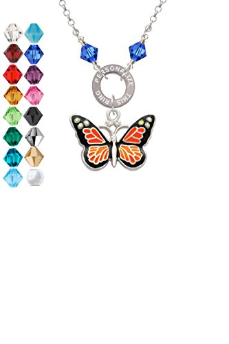 Large Monarch Butterfly with 6 AB Crystals Custom Engraved Name Ring Crystal Necklace
