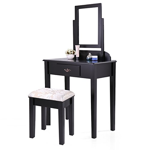 Grace Table Stool (LAZYMOON Black Finish Dressing Mirror Table Set Contemporary Bedroom Vanity Table with Stool)