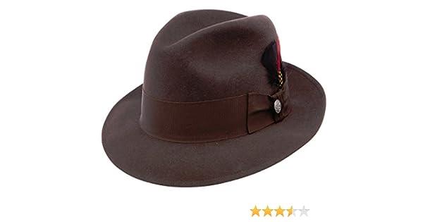 28609fefc0285 Stetson Frederick Brown Wool Felt Fedora TWFRDK-MNK at Amazon Men s  Clothing store