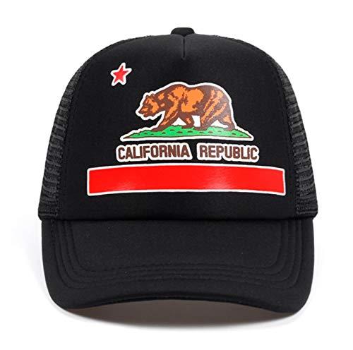 Mesh Summer Cap Retro California Love Vintage California Bear Top Cap Black]()
