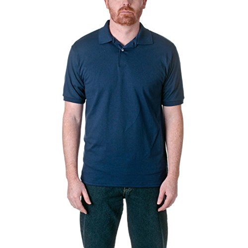 Hanes Men's EcoSmart Comfortsoft Blended Jersey Sport Polo Shirt, Navy, (Embellishments Shirt Labels)