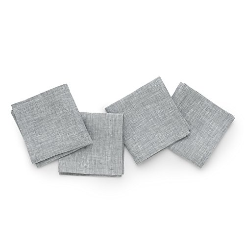 Solino Home Linen Cocktail Napkins - 9 x 9 Inch Grey, 4 Pack Pure Linen Napkins, Bella - 100% European Flax - Soft and Handcrafted with Mitered Corners