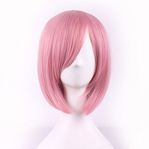 Bopocoko Wigs Short Bob Wig Pink Straight Women Cosplay Wig Halloween Costume Girls Wigs Oblique Bangs 11 Inch BU029PK (Harajuku Halloween Makeup)