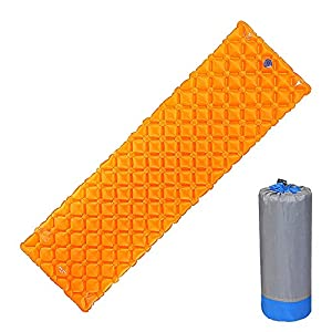 Forall-Ms Inflatable Sleeping Mat,Ultralight Camping Mattress with Air Bag Sleeping Pads Folding Inflating Roll Mat for Hiking Travel,Orange