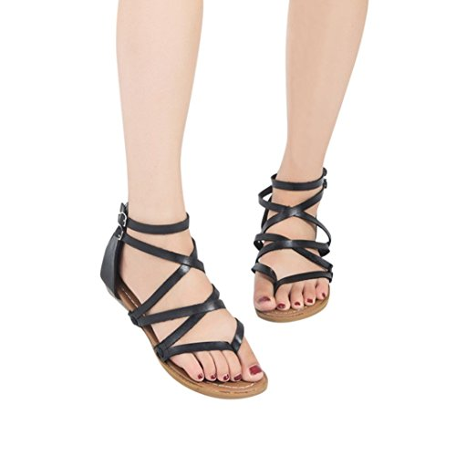 Black Sandals Cross Inkach Flip Casual Beach Womens Back Shoes Zipper Sandals Thong Flat Fashion Summer Flops Strap RxatxB
