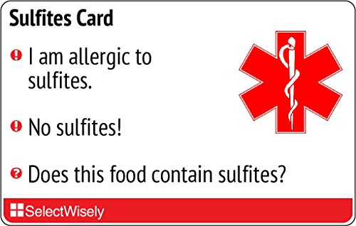 Sulfite Allergy Translation Card - Translated in Spanish or any of 4 languages by SelectWisely