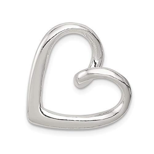 925 Sterling Silver Heart Slide Necklace Pendant Charm Chain Fine Jewelry Gifts For Women For Her