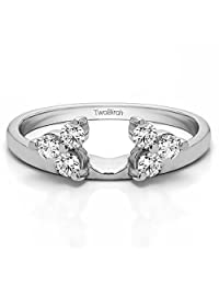 Wrap in Forever Brilliant Moissanite by Charles&Colvard (0.11Ct)Size 3 To 15 in 1/4 Size Interval