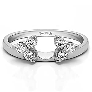 Wrap in Forever Brilliant Moissanite by Charles&Colvard (0.24Ct) Size 3 To 15 in 1/4 Size Interval