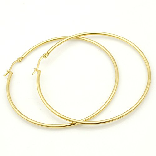 IDB Stainless Steel Big Hoop Earrings - Gold/Rose Gold/Silver/Black Tones - 7 different sizes to choose from