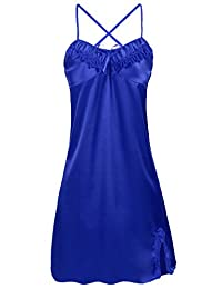 Women Sexy Lace Floral Chemise BabydollLingerie Satin Sleepwear with G string Plus Size