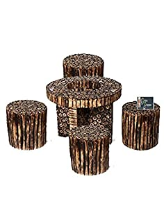 Onlineshoppee® Bloque Wooden Antique Round Shaped Coffee Table Set