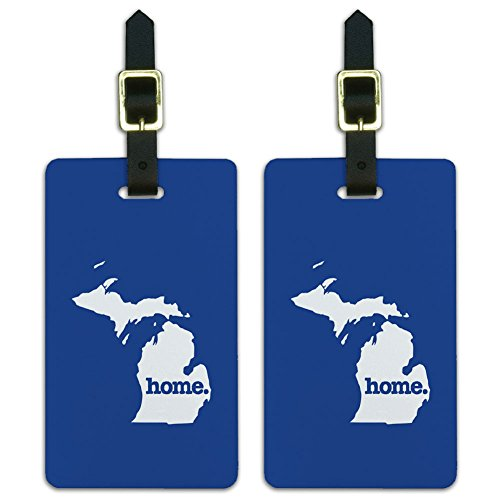 State Luggage Tag (Graphics & More Michigan Mi Home State Luggage Suitcase Id Tags-Solid Navy Blue, White)
