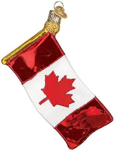 Canadian Flag, 36248 Vacation Collection Old World Christmas Glass Blown Ornament with S-Hook and Gift Box