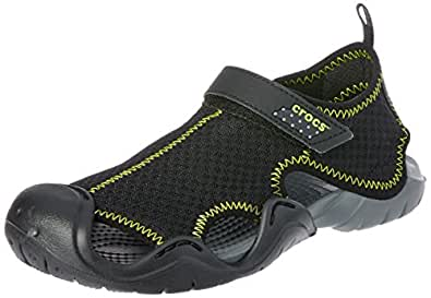 Crocs Unisex Kids Swiftwater Sandal, Black/Charcoal, J2