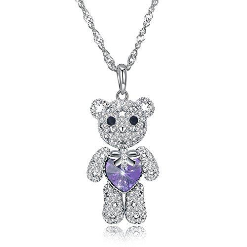 SEKAYISORE Cute Teddy Bear Pendant Necklace, Purple Crystal Heart Drop Jewelry for Women and (Adorned Teddy Bear Charm)