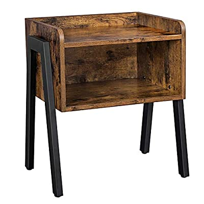 VASAGLE ALINRU Nightstand, Stackable End Table, Side Table for Small Spaces, Storage Compartment, Industrial Accent Furniture, Steel Frame, Rustic Brown and Black ULET54X - SOMETHING CERTAIN: Some furniture looks good, but isn't very practical. Others are functional, but look cold and boring. However, this side table has greige wood tones and a spacious open compartment, giving you the best of both worlds PERFECT DESIGN: The sturdy, matte-black steel legs and robust shelving with a greige look make this striking nightstand stand out; it has individual character, remarkable durability, and an excellent total load capacity up to 44 lb NOT JUST A SIMPLE CUBE: The spacious compartment offers extra storage for your book collection, while the table top is perfect for your glasses, a cup of water, and a lamp; stack a second one of these side tables on top of this one to get more shelves - nightstands, bedroom-furniture, bedroom - 41sWzUZoShL. SS400  -