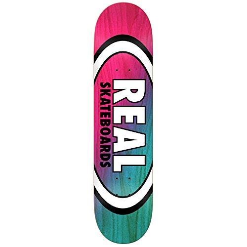 作りコントラスト注釈を付けるRealスケートボードデッキ角度Dipオーバルレッド/ライトブルー8.5