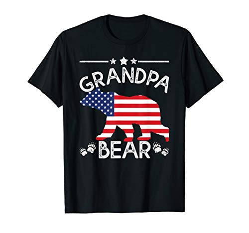 (American Flag Grandpa Bear 4th of July shirt Father day Gift)