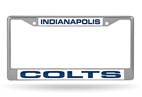 NFL Indianapolis Colts Laser Cut Inlaid Standard Chrome License Plate ()