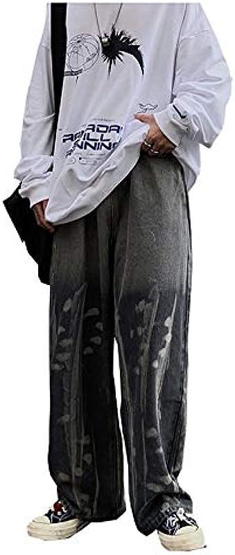 CYSTYLE męskie dżinsy proste hipsterskie hipsterskie styl baggy jeansy jogging jeansy Rap Denim proste leg luźne legginsy z nadrukiem kwiatowym: Odzież